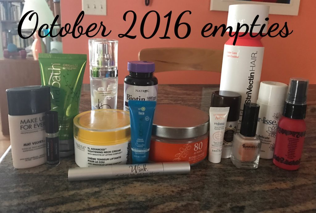 cosmetics I've emptied October 2016 neversaydiebeauty.com