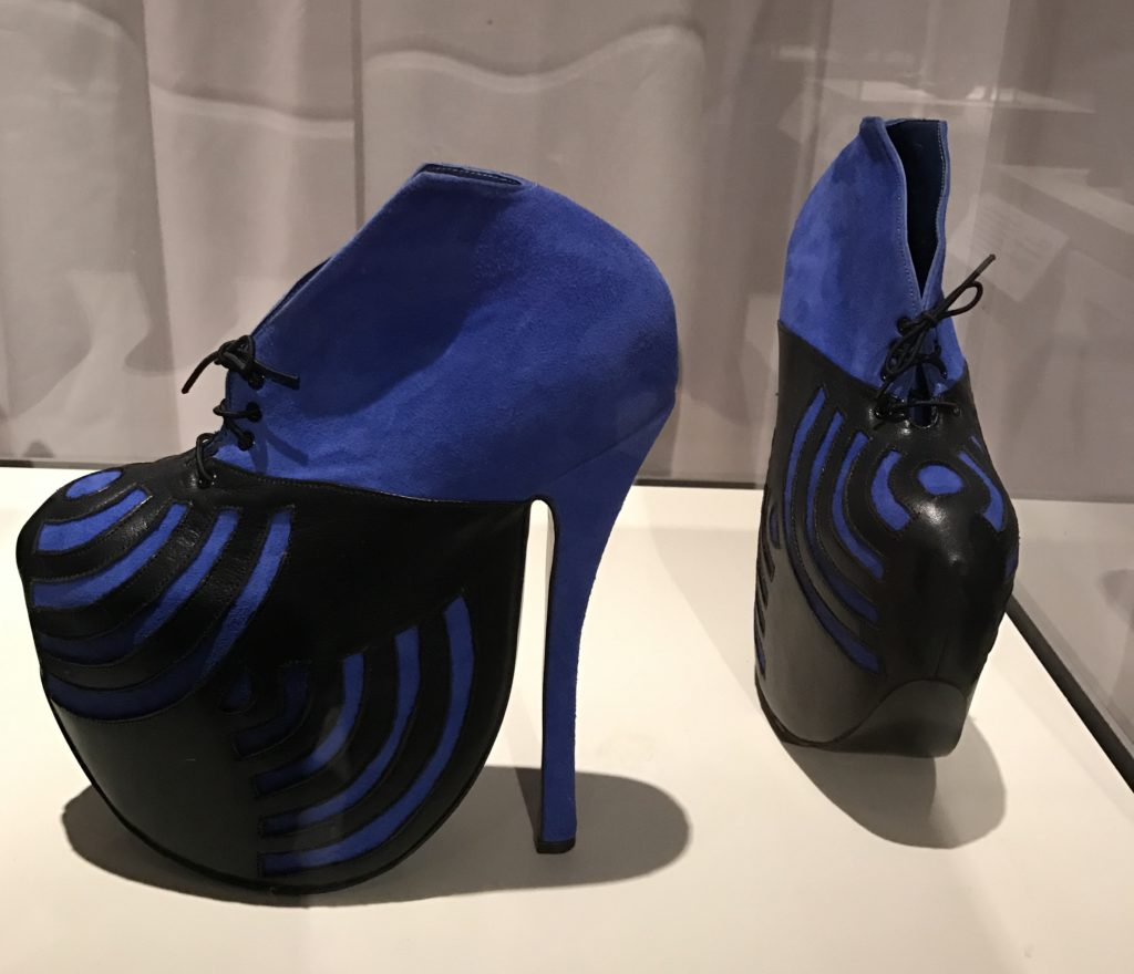 "fantasy blue and black shoes, Peabody Essex Museum ""Shoe"" exhibit"