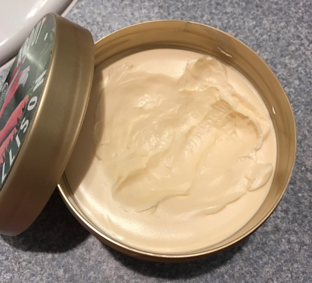 showing the thick cream of The Body Shop Wild Argan Oil Body Butter neversaydiebeauty.com