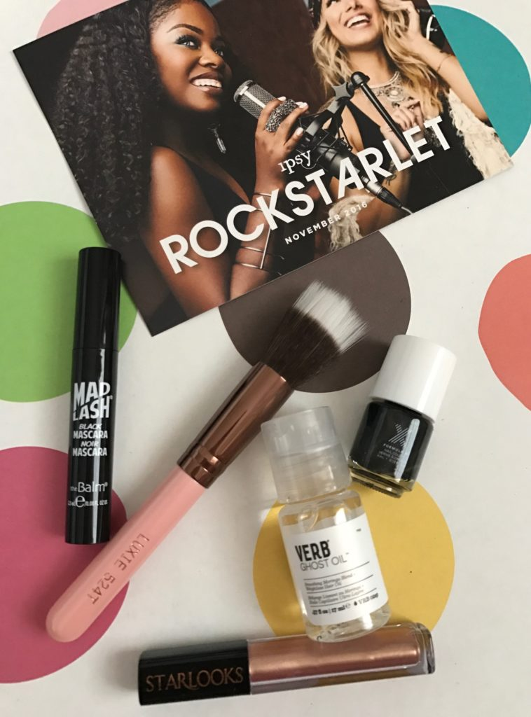 Ipsy RockStarlet subscription bag November 2016 cosmetics I received neversaydiebeauty.com