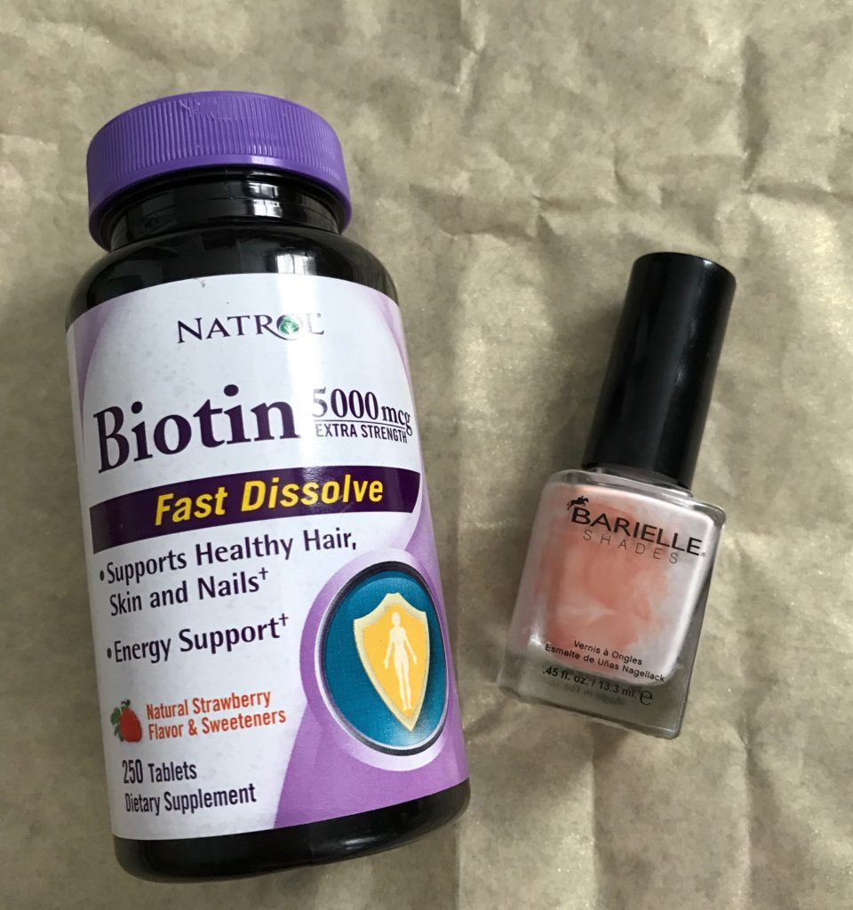 empty nail products: biotin tablets and an old bottle of nail polish neversaydiebeauty.com