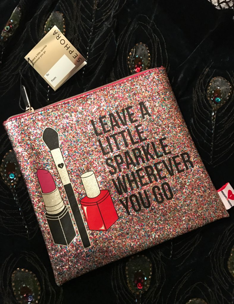 Breakups to Makeup large multicolored glitter makeup bag, Sephora neversaydiebeauty.com