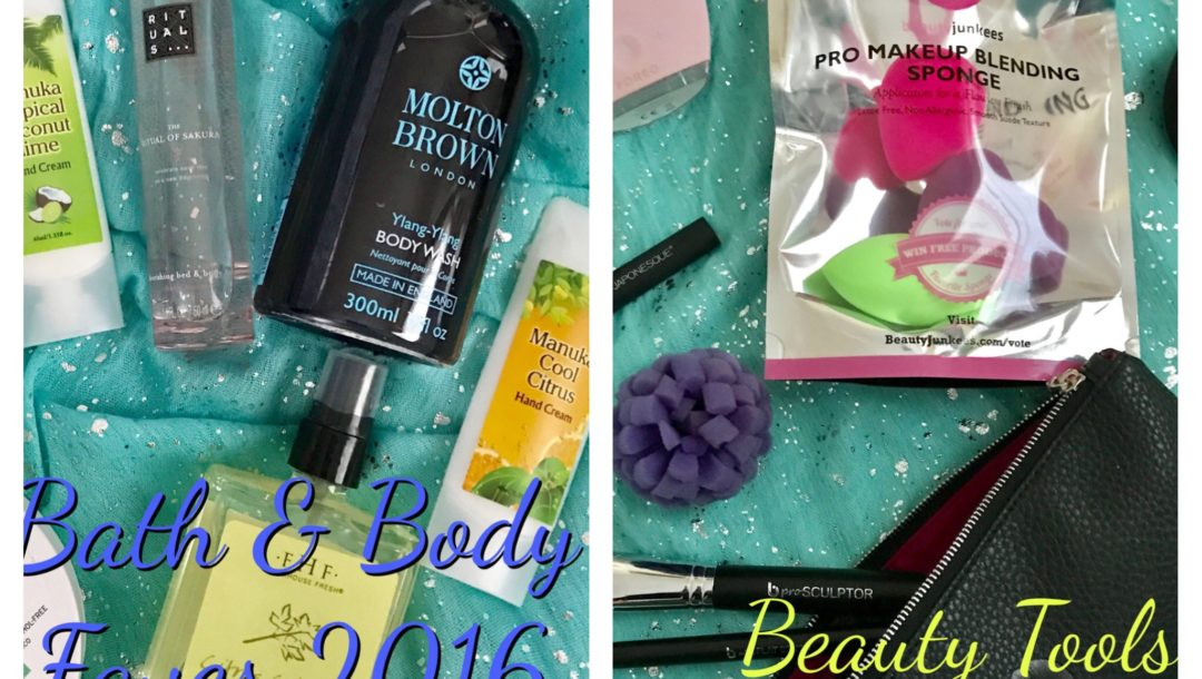collage of my favorite bath & body and beauty tools for 2016, neversaydiebeauty.com
