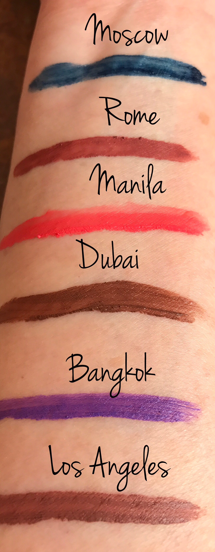 NYX Soft Matte Lip Cream Vault, swatches 2nd half of row 3 neversaydiebeauty.com