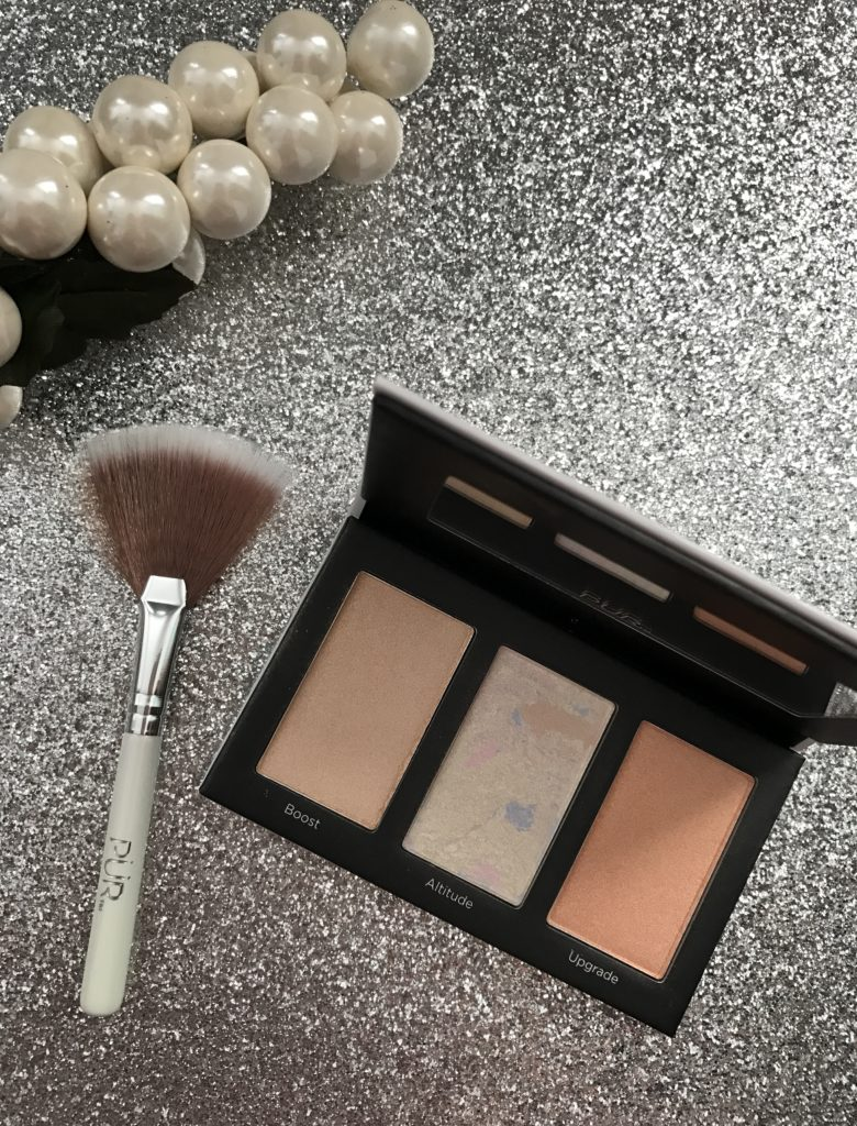PUR Cosmetics Elevation Highlighter Palette & travel size fan brush, neversaydiebeauty.com