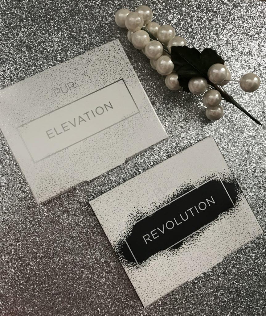 PUR Cosmetics sets: Elevation Highlighter Set & Revolution Eye Set, outer packaging neversaydiebeauty.com