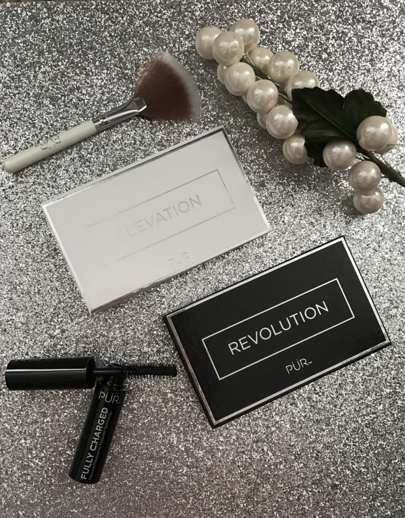 PUR Cosmetics Elevation Highlighter Palette & fan brush and Revolution Shadow Palette & Fully Charged Mascara, neversaydiebeauty.com