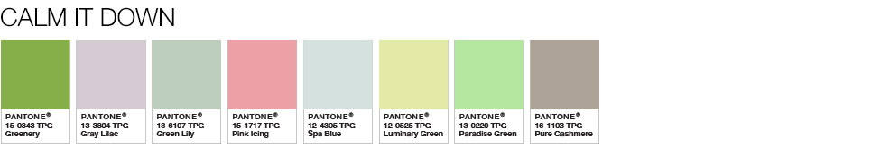 Pantone Calm It Done shades