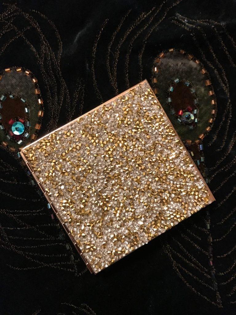 Sephora gold glitter compact purse mirror, neversaydiebeauty.com