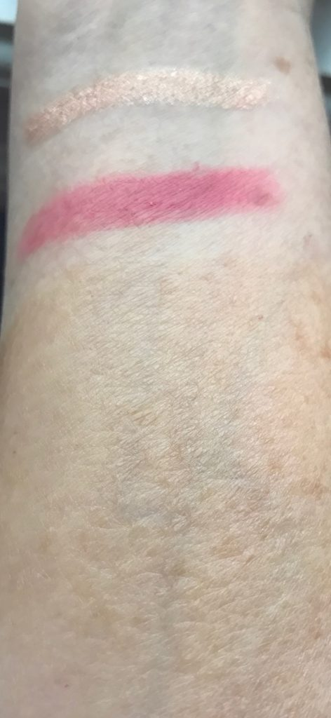 swatches from The Body Shop Honey Bronze Drops of Sun, Honolulu Pink Matte Lipstick & Nevada Rose Eye Colour Stick cream shadow