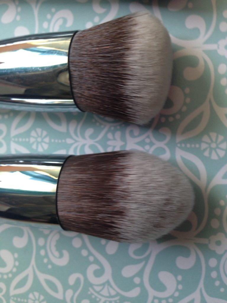 closeup of Beauty Junkees Kabuki brush heads: Round and Tapered Kabukis, neversaydiebeauty.com