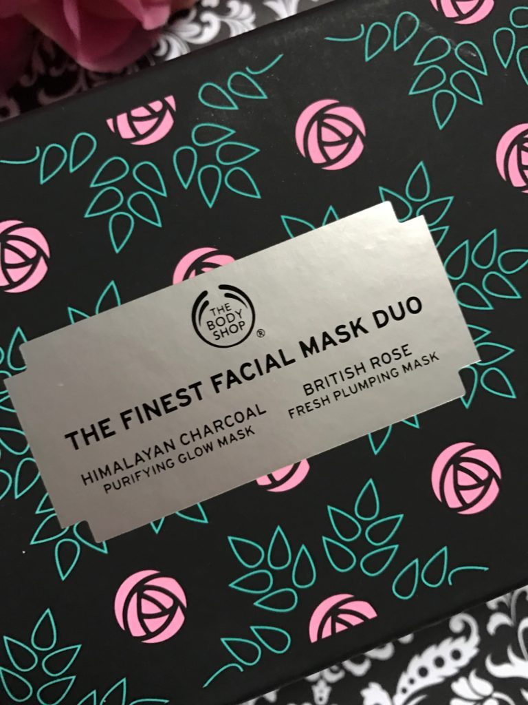 closeup of the label of The Finest Facial Mask Duo from The Body Shop, neversaydiebeauty.com