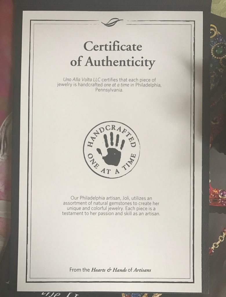 Certificate of Authenticity from Uno Alla Volta