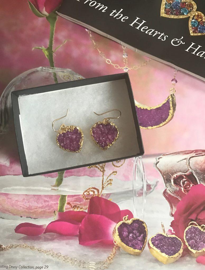 Joli's Drusy Heart Earrings from Uno Alla Volta catalogue, neversaydiebeauty.com