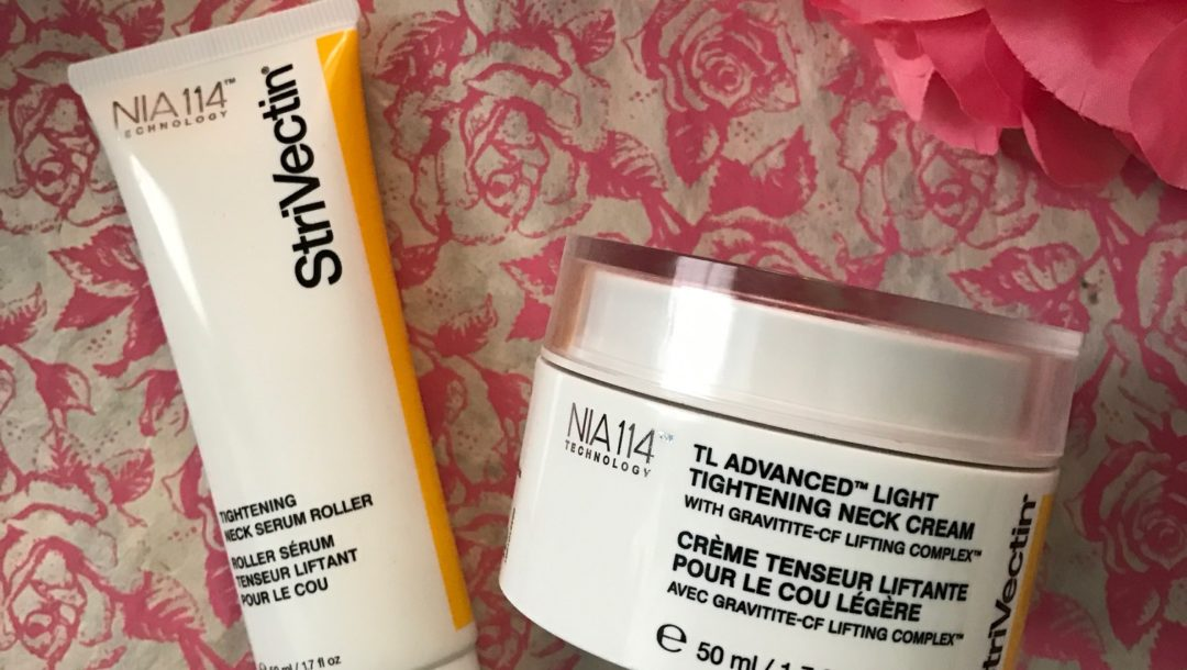 StriVectin's new neck skincare products: Tightening Neck Serum Roller & TL Advanced Light Tightening Neck Cream, neversaydiebeauty.com