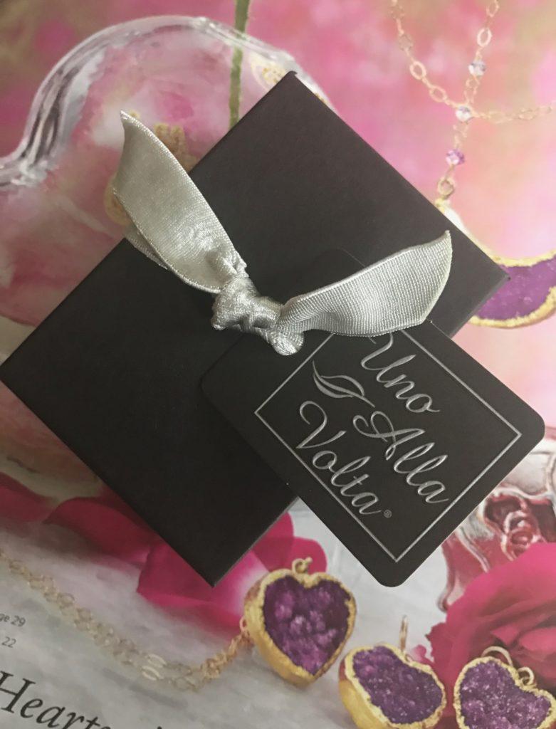 gift box on catalogue from Uno Alla Volta, online retailer, neversaydiebeauty.com