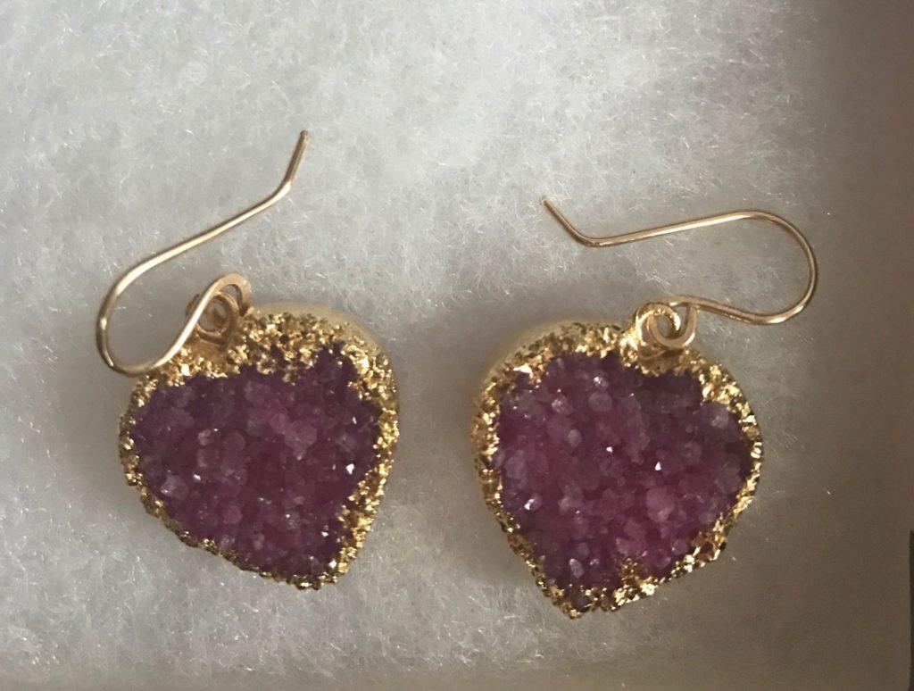 closeup of Joli's Drusy Heart Earrings from Uno Alla Volta, neversaydiebeauty.com