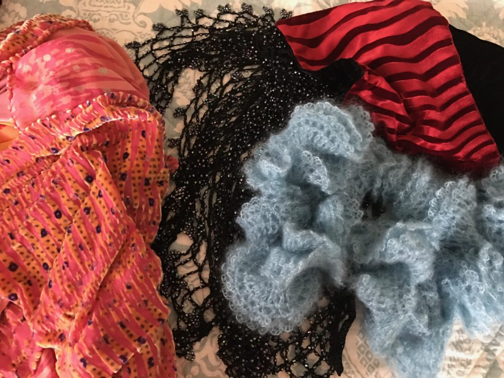 an assortment of a few of my scarves, neversaydiebeauty.com