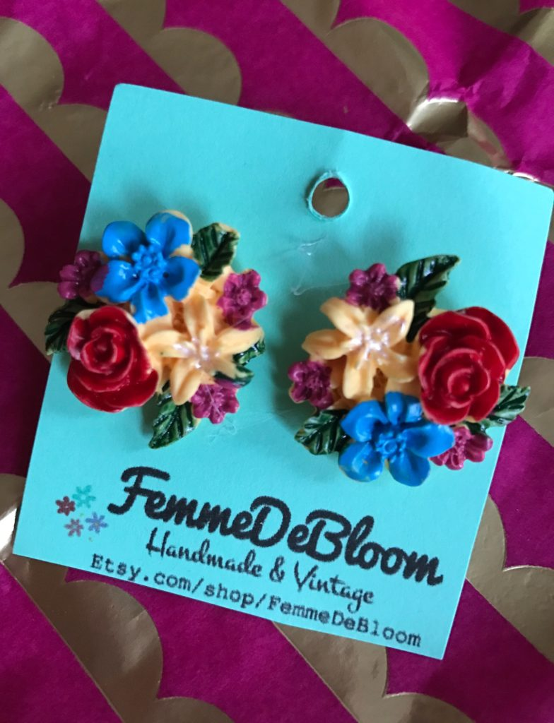 floral bouquet stud earrings from Femme de Bloom, neversaydiebeauty.com
