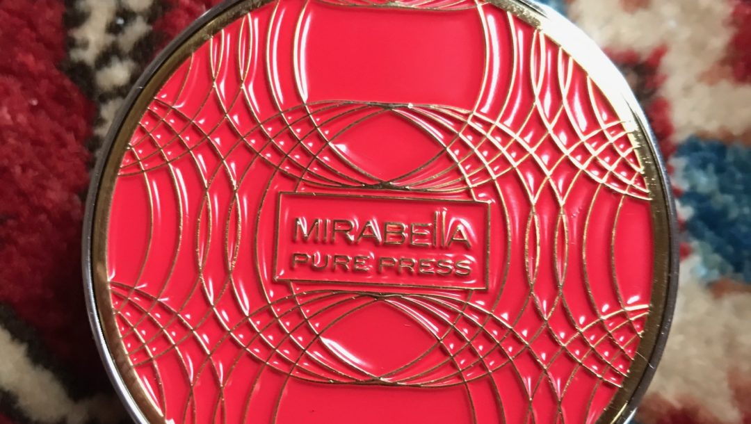 Mirabella Beauty Pure Press Foundation mini compact, red & gold top, neversaydiebeauty.com