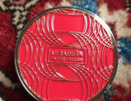 Mirabella Beauty Pure Press Foundation mini compact, red & gold top, neversaydiebeauty.com