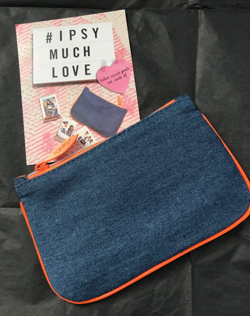 """Much Love"" ipsy Glam Bag February 2017 with theme card, neversaydiebeauty.com"
