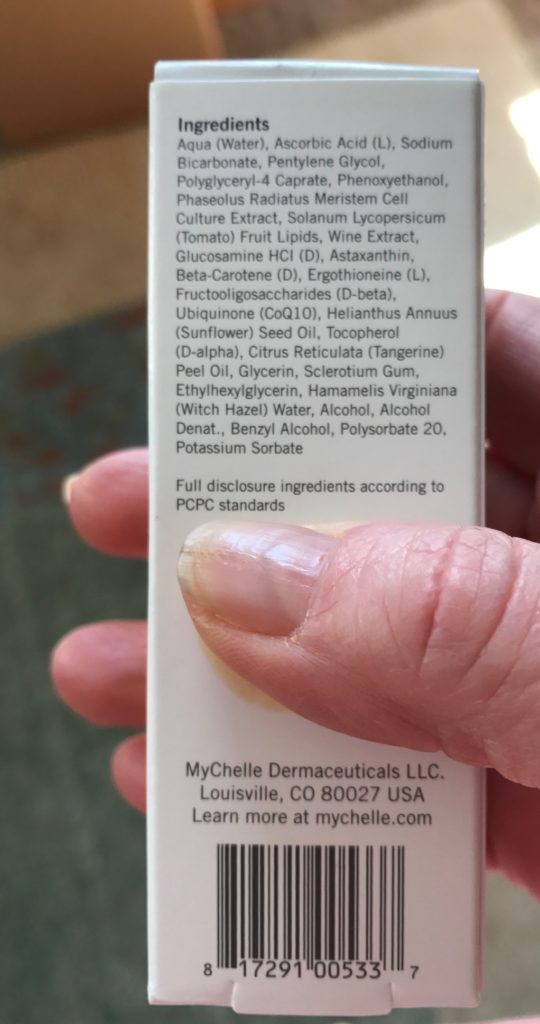 MyChelle Perfect C Pro Serum 25% ingredient list on the box, neversaydiebeauty.com