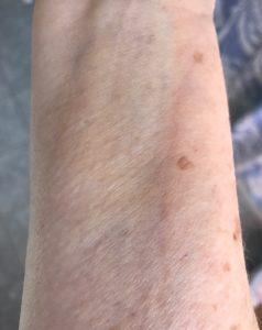 MyChelle Sun Shield Liquid Tint SPF 50, shade Nude skin swatch, neversaydiebeauty.com
