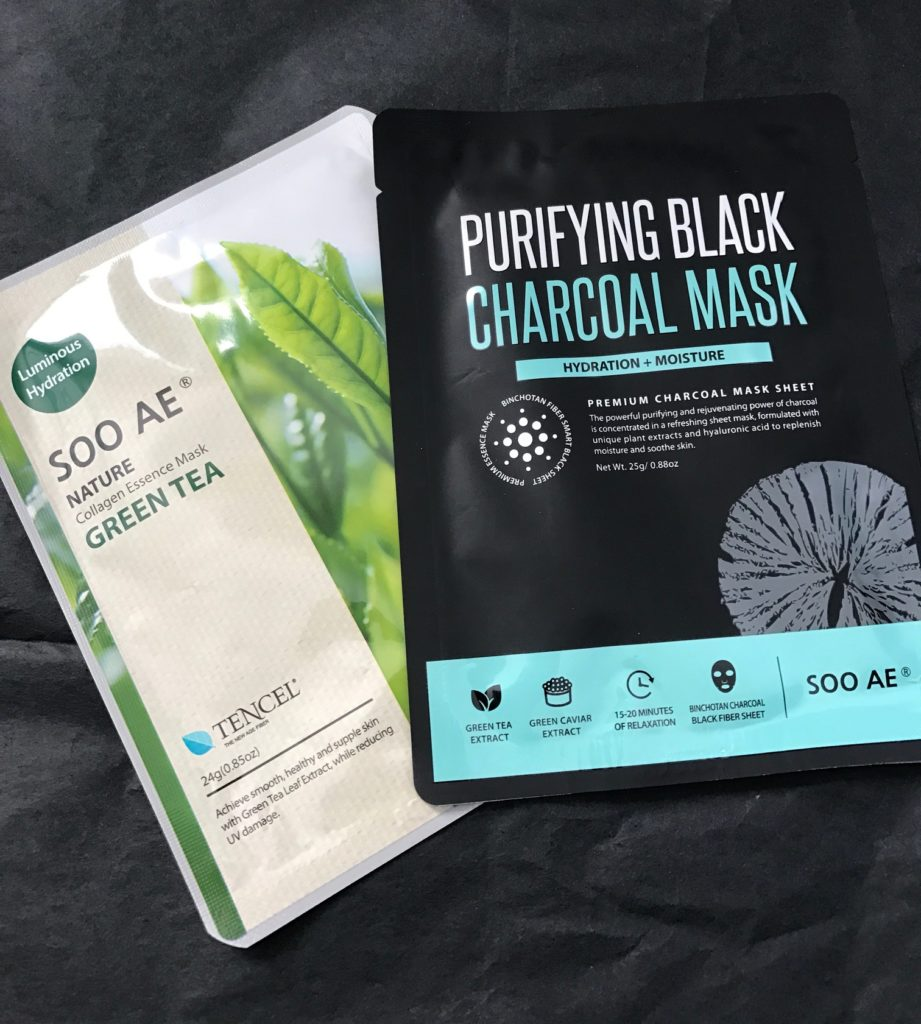 2 Soo AE Korean sheet masks: collagen and charcoal, neversaydiebeauty.com