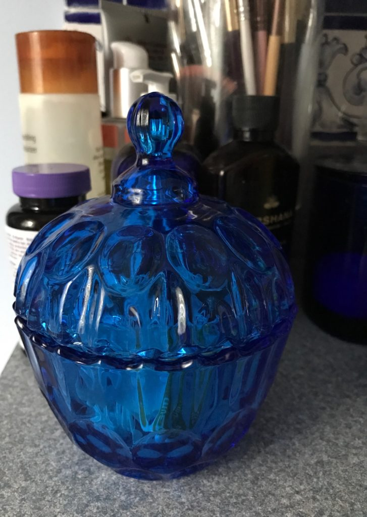 blue cut glass jar, neversaydiebeauty.com