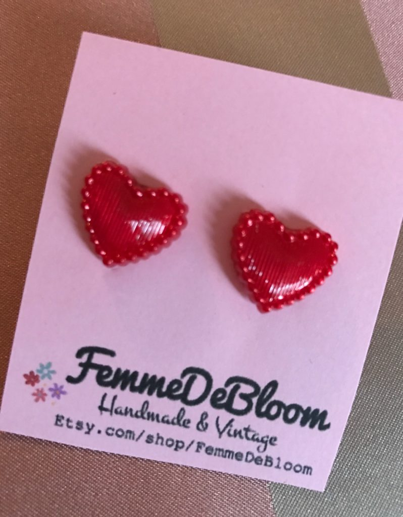 red heart stud earrings from Femme de Bloom, neversaydiebeauty.com
