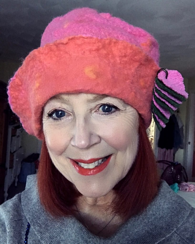 me wearing Bon Bons by Tina pink & orange felt hat, neversaydiebeauty.com