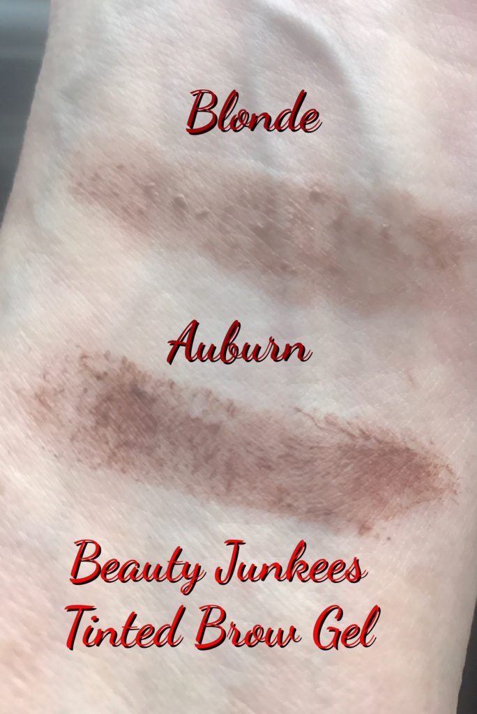 swatch of Blonde & Auburn, Beauty Junkees Tinted Brow Gel, neversaydiebeauty.com