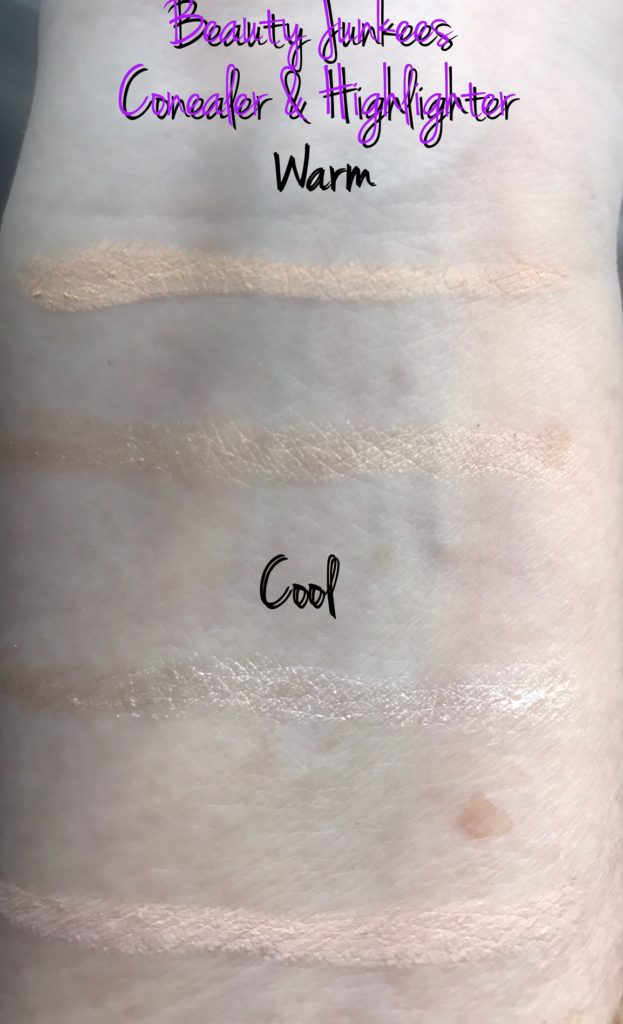 swatches Warm Cool Beauty Junkees Concealer Highlighter Pencils, neversaydiebeauty.com