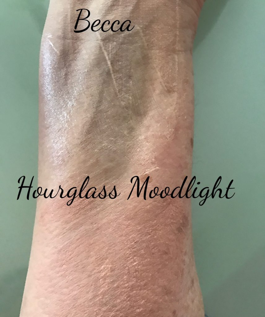 BECCA & Hourglass filter primers partially blended to show the color and finish, neversaydiebeauty.com