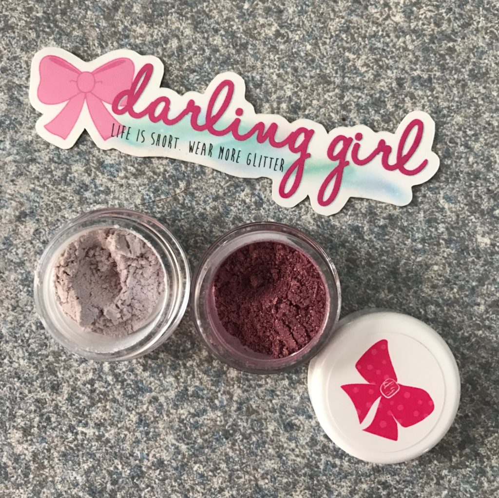 Darling Girl Cosmetics closeup of Brocade and Frolic eyeshadows, neversaydiebeauty.com