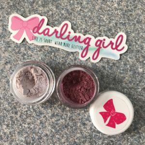 Darling Girl Cosmetics closeup of Brocade and Frolic eyeshadows, neversaydiebeauty.com
