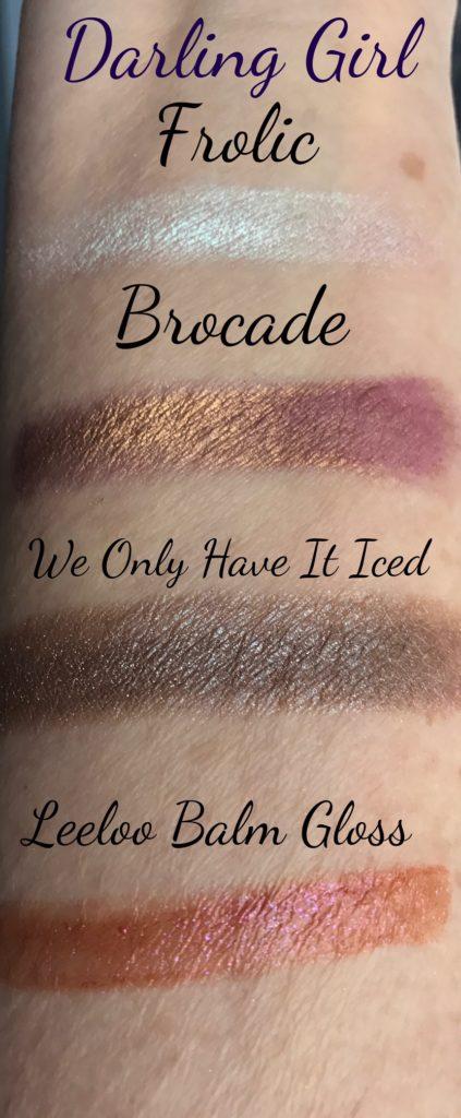 Darling Girl Cosmetics eyeshadow & lipgloss swatches, neversaydiebeauty.com