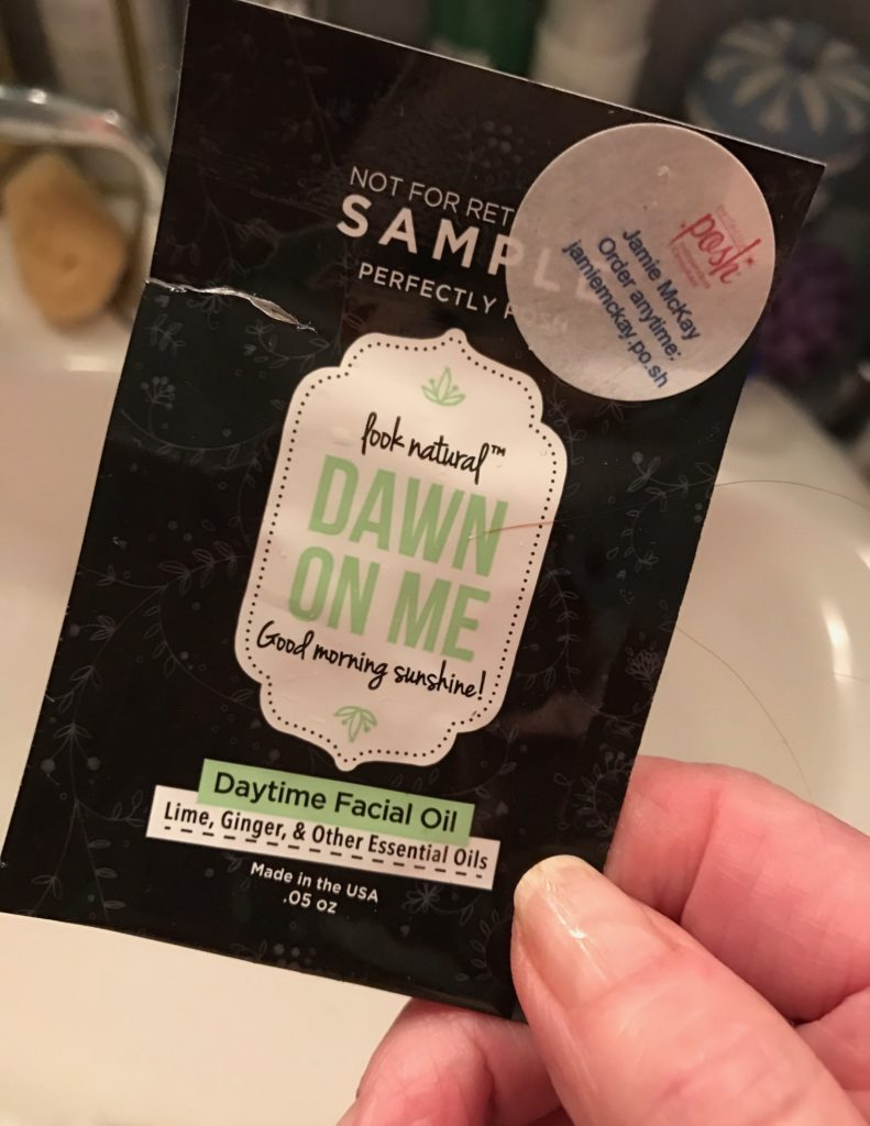 Dawn On Me Facial Oil sample packet, neversaydiebeauty.com
