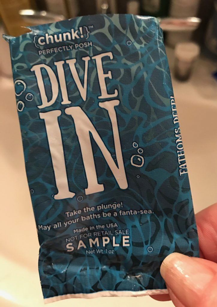 Perfectly Posh's Dive In Chunk bar soap sample packet, neversaydiebeauty.com