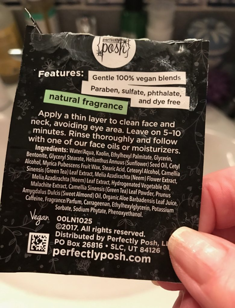 ingredient list for Perfectly Posh Envy This Tightening & Brightening Mask, neversaydiebeauty.com