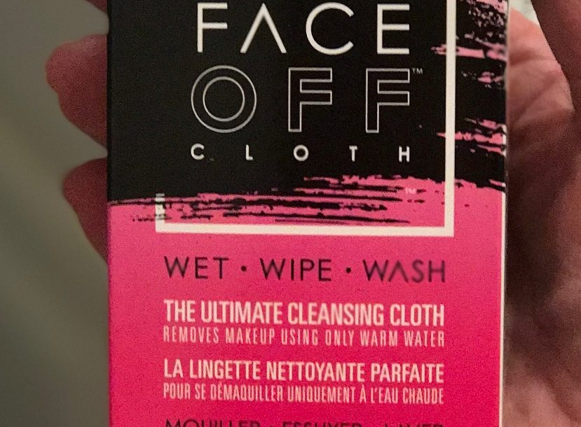 closeup of FaceOff makeup removing cloth packaging, neversaydiebeauty.com