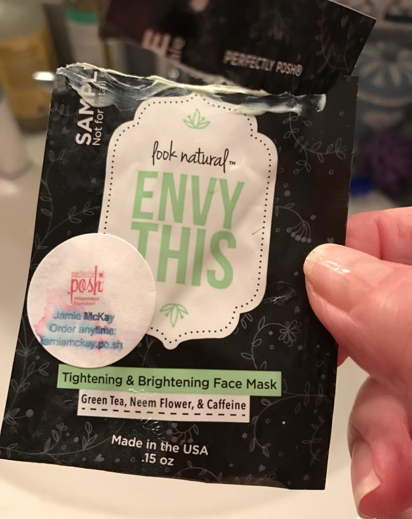 Perfectly Posh Envy This Tightening & Brightening Mask sample packet, neversaydiebeauty.com