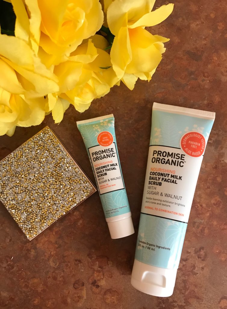 Promise Organic Coconut Milk Daily Facial Scrub in travel and regular size tubes, neversaydiebeauty.com