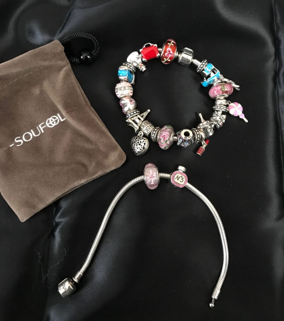 Soufeel charm bracelets and pouch they came in, neversaydiebeauty.com