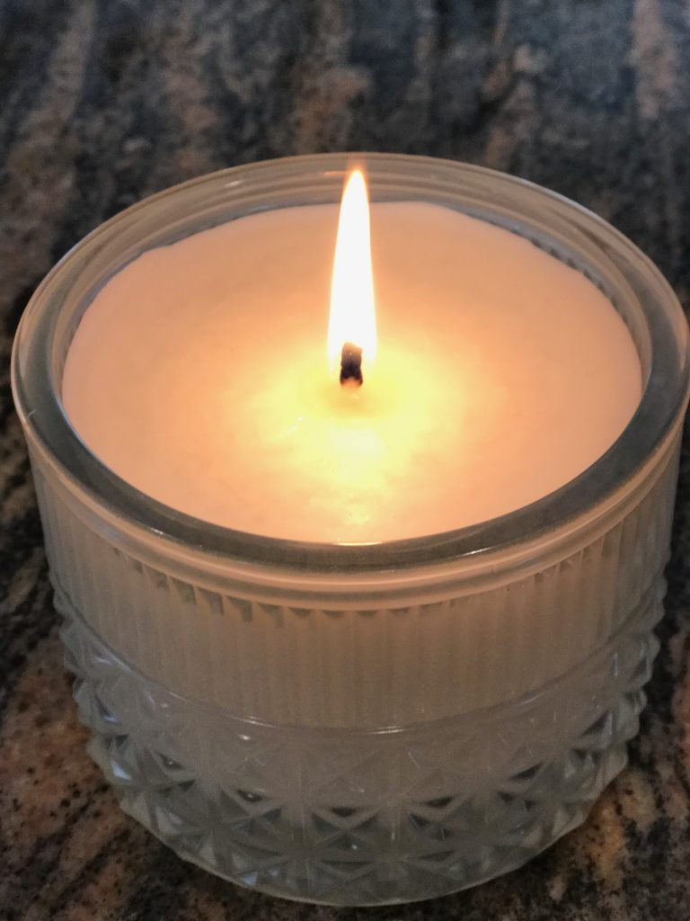 lit scented candle, Modern Mint, from the Muse collection, Capri Blue, neversaydiebeauty.com