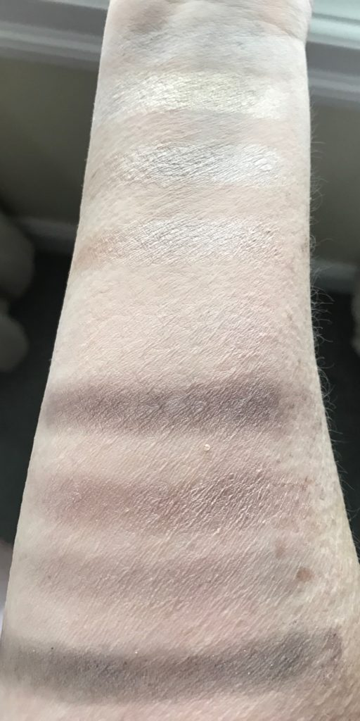 swatches from Jesse's Girl Dream Girl shadow palette, neversaydiebeauty.com