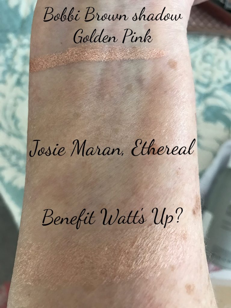 swatches from makeup in Sephora Play! bag March 2017: Bobbi Brown shadow, Josie Maran Ethereal, Benefit Watt's Up?, neversaydiebeauty.com
