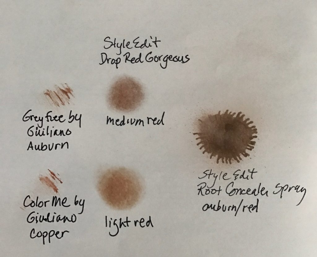 swatches of red root concealers, neversaydiebeauty.com