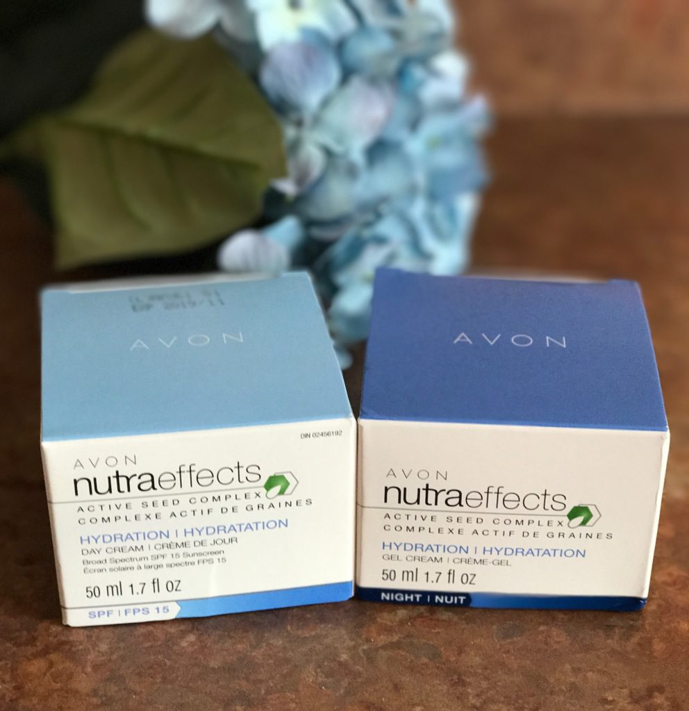 Avon NutraEffects Hydration Day Cream SPF 15 & Gel Night Cream with Active Seed Complex, outer packaging, neversaydiebeauty.com